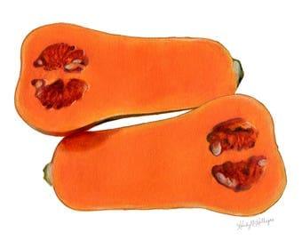 Butternut Squash // Food Illustration // Archival Art Print, Orange Home Decor
