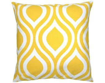 Pillowcase EMILY yellow retro graphic white linen look 40 x 40 cm