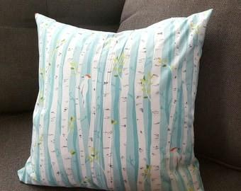 Throw Pillow Cover - Michael Miller Backyard Baby Birch Forest Aqua - Nursery Decor, Birch Trees, Wood Pecker, Baby Boy, White Birch,  Lodge