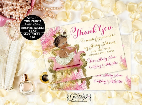 "Personalized Thank You Card Notes, baby shower thank you card girl, princess baby girl thank you template custom cards. {5x3.5"" 4 Per/Sheet}"