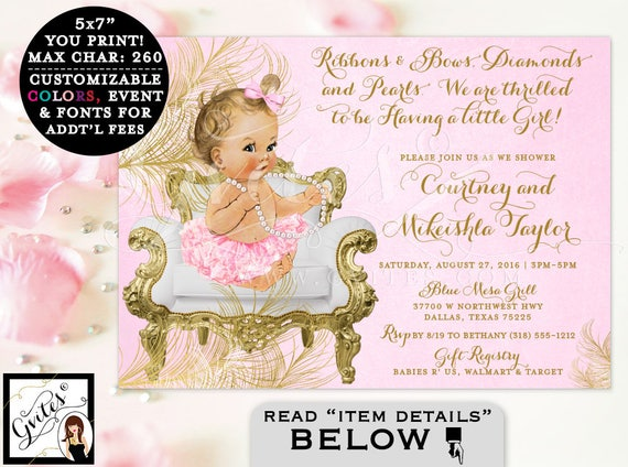Pink and Gold Baby shower invitations, ribbons bows diamonds and pearls, vintage, girl tutu invite, digital file, PRINTABLE 5x7.