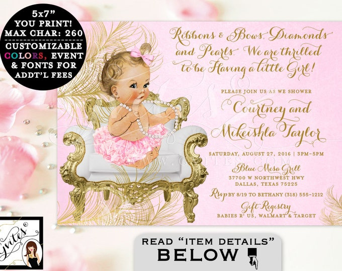 Pink And Gold Baby Shower Invitations, Ribbons Bows Diamonds And Pearls,  Vintage, Girl