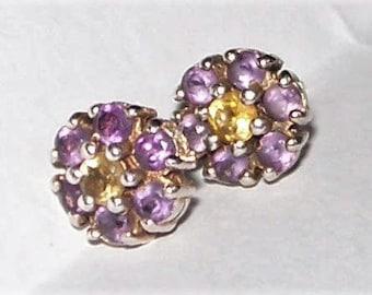 Vintage Claw Set Citrine Amethyst Cluster Silver Stud Earrings