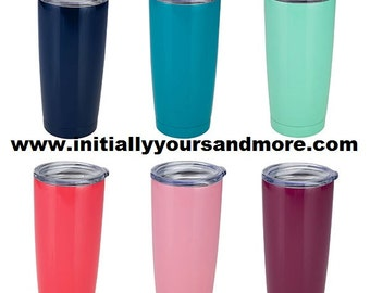 Monogram Colored Tumbler cup 20 oz. like other popular brands for less. Great gift idea and price.