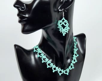 occhi necklace, filigree necklace, collar, Cuff Bracelet, jewelry from lace, mint collar, Cuff Bracelet, gift for women, tatting jewelry