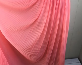 Vintage Vanity Fair Coral Chiffon Gown Crystal Pleat Front Long Salmon Collar 36
