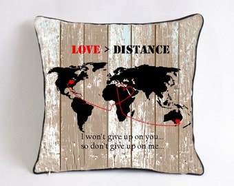 long distance couple cushion cover-antique Christmas ornaments-cotton anniversary gift-deploy gift for husband-love>distance,i wont give up