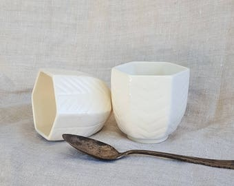 White Hexagonal Ceramic Teacup with Chevron 'Leaf' Texture