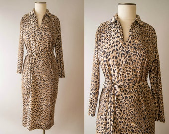 vintage 1970s dress / 70s leopard print dress / small
