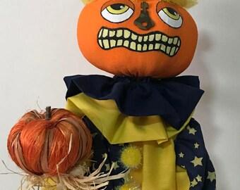 Folk Art Pumpkin Clown Doll