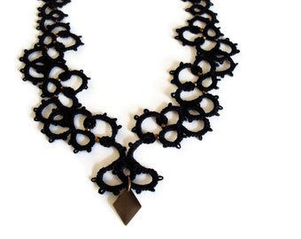 Black statement lace necklace with brass charm/Tatted necklace/Black necklace/statement necklace/Lace necklace