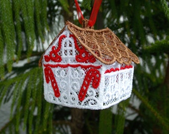 Gingerbread House Ornament ~ Christmas ~ Holiday ~ Gift ~ Wreath Machine Embroidered