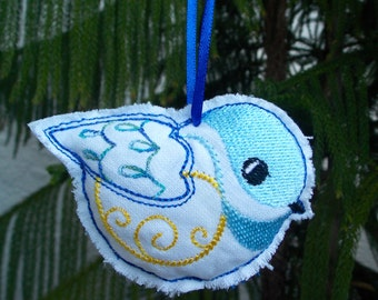 2 Christmas ~ Holiday ~ Tree ~ Wreath ~ Gift ~ Stuffed Bird Ornament Machine Embroidered on White Reclaimed Linen in Blue and Yellow