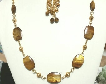 Brown Sea Shell Necklace and Earring Set