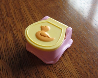 Doll House Potty Chair,Bathroom,Miniature Baby Nursery Furniture,Dollhouse Pink Yellow Plastic Potty Chair,Children,Bathroom,Duck,Lid Raises