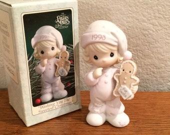 Precious Moments Figurine 530166 Wishing You The Sweetest Christmas 1993