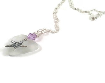 Beach Glass Sterling Silver Starfish Pendant Amethyst Crystal Eco Friendly Jewelry Upcycled Necklace Beach Wedding Lake Erie Hearts