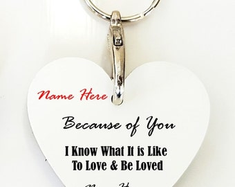 Personalised Heart Keyrings - Because of You Range