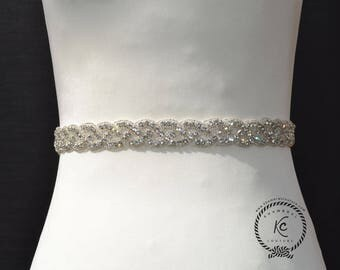 "18""- 34"" Wedding Sash Belt, Bridal Sash, Bridal Belt, Wedding Dress Sash, Rhinestone Sash, Sash Belt, Crystal Rhinestone Belt Felt Backing"