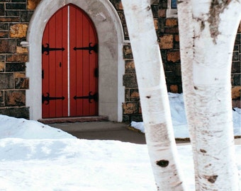Winter Castle Red Door - Snow Church Tree Architecture Lake Placid New York Fine Art Wall Photography Print