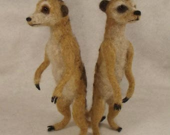 Needle felted Animal, Needle felted Meerkat, Handmade Needle felted Meerkat