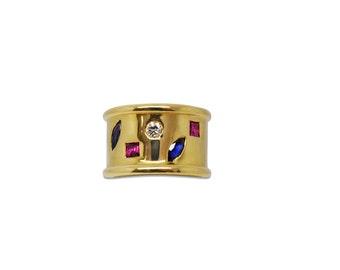 14K Gemstone Cigar Band Ring