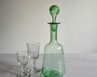 Antique green glass decanter, liqueur carafe, antique glass decanter with stopper
