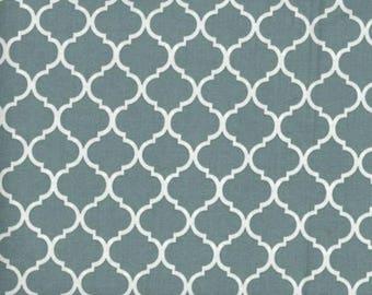 Mini Quatrefoil Fabric White on Slate Blue 100% Cotton