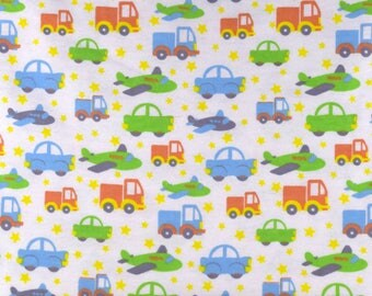 Bedtime Planes Trucks and Cars Fabric FLANNEL Fabric From Davids Textiles