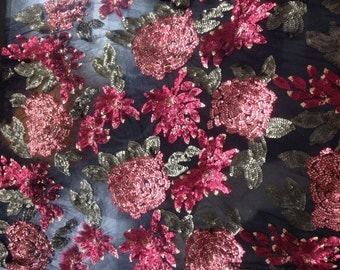 1 Yard Stretch Sequin Fabric,3D Floral Dress Fabric,Red Embroidery Mesh Sequin Fabric,Prom Dress Fabric,Vintage Wedding Dress Sequin Lace