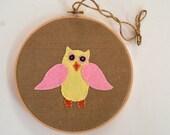 Owl Hoop Art, Wall Decor, Baby Girl, Embroidery Art, Nursery Decoration, Wall Hanging, Wool Felt, Baby Gift, Applique, Baby Shower Gift