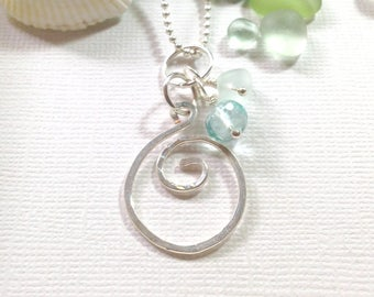 Sea Glass Jewelry Circle Necklace Sea Glass Charm Necklaces Garden Leaf Seaside