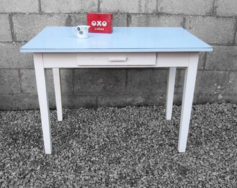 Blue Formica Kitchen Dining Table Painted White