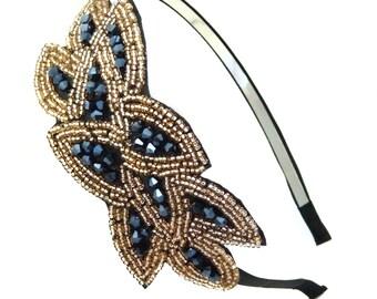 Handmade Beaded Leaf Bunch Fashion Headband Hair Accessory (Black)
