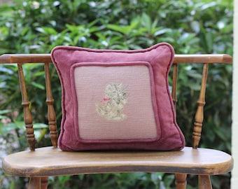 Vintage Petit Point Needlepoint Cat Pillow / Cat Needlepoint Pillow / Pink Cat Pillow / Embroidered Cat Pillow / Plum Cat / Cat Decor