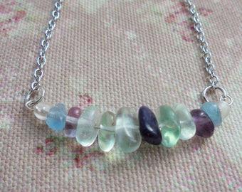 Minimalist Rainbow Fluorite Necklace