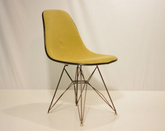 Yellow Upholstered Eames Shell Chair in Eiffel Base.