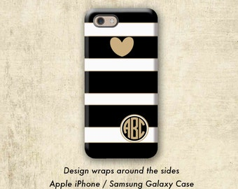 Black Stripe iPhone 7 Case , Heart iPhone 6 Plus Case , iPhone Case , iPhone 6 Case , iPhone 7 Plus Case