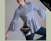 The Statement Top: Instant Download PDF top pattern for women.  PDF sewing pattern available in sizes 4 to 22 with sewing tutorial included