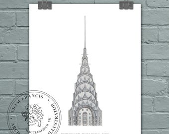 Chrysler Building New York City. Detailed, High Quality, Limited Edition FINE ART print. A great unique gift for New York Architecture fans!