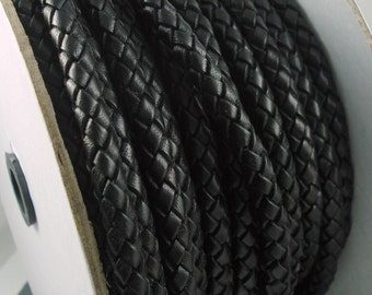 Leather Braided Cord, 8MM German Black Bolo Leather, Excellent Quality, Very Flexible, All Leather, One Yard