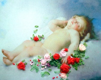 picture , silk ribbon embroidery Angel Embroidery silk ribbons not framed