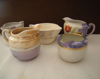 5 mismatched creamers-tea time-china-luster-bavaria-germany-old noritake-china collection-cottage chic-retro-