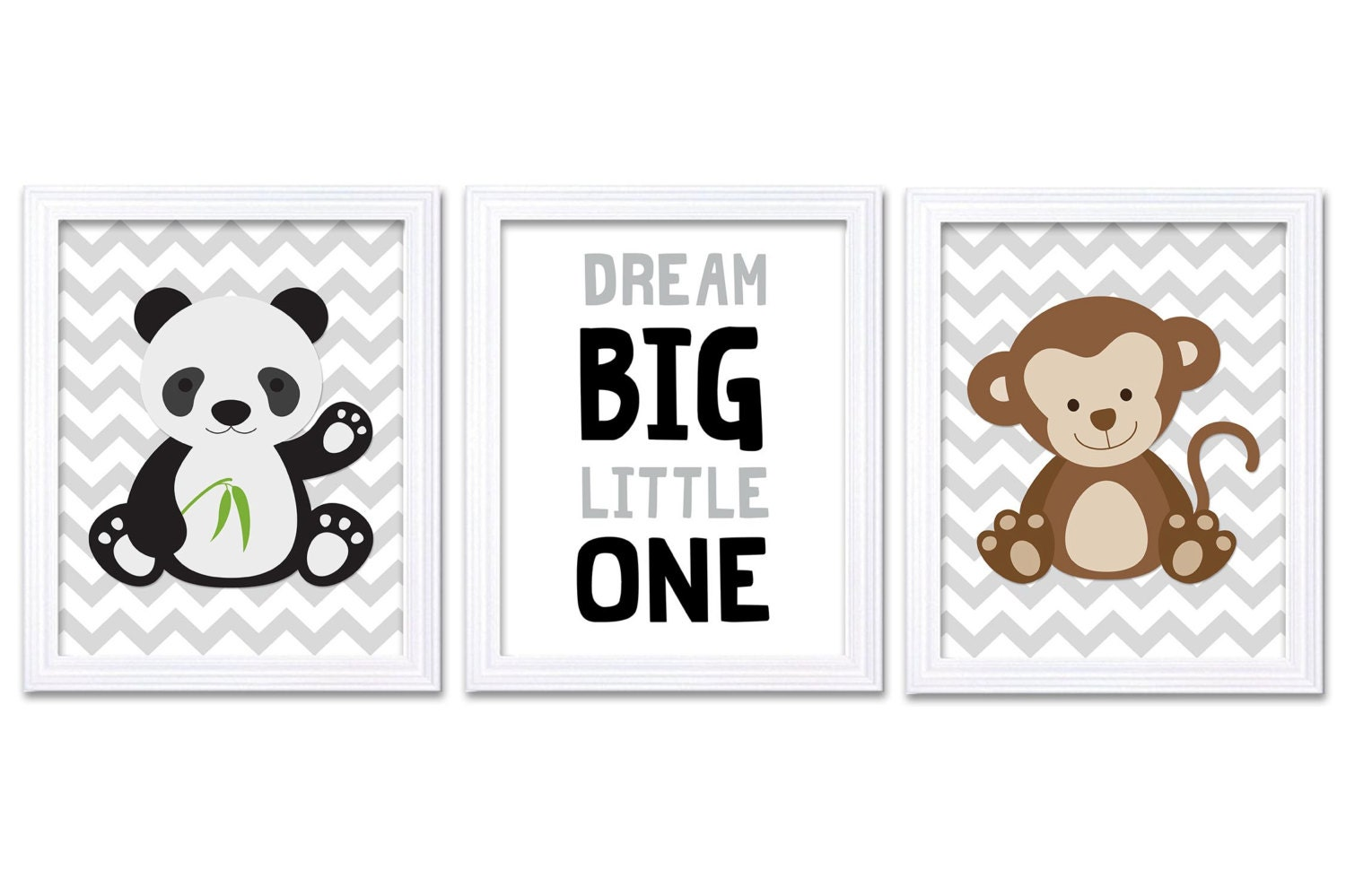 Panda Monkey Nursery Art Set of 3 Print Black Grey Gray Brown Dream Big Little One Child Kid Room Nu