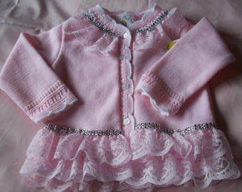 pink baby cardigan.. lacy baby cardigan    family occasion.
