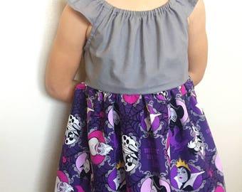 Disney villains girls dress - sizes 2t - 8, Cruella dress, Malificent dress, Ursula dress, Evil Queen dress, purple dress