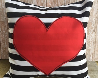 Black and White Stripe Valentine Heart pillow cover