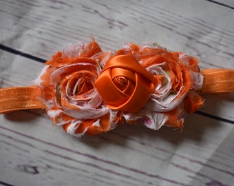 Orange Shabby Rose Hair Bow Headband