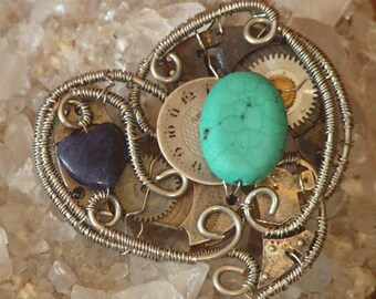 Wire Wrapped Steampunk Heart Necklace with Turquoise and Sodalite