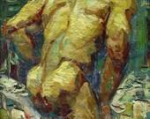 "24x30"" - Original Gay Male Nude Fine Art Painting by Royo Liu -060080.001"